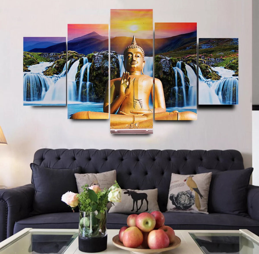 Paintings - 5 Pcs Buddha Oil Canvas Painting