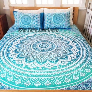 PILLOW COVER MANDALA QUEEN  (DEEP BLUE)