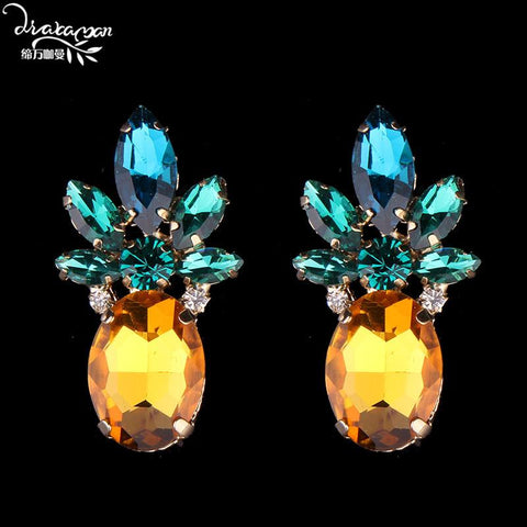 Pineapple Statement Crystal Stud Earrings