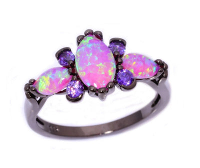 Pink Fire Opal Amethyst Black Ring