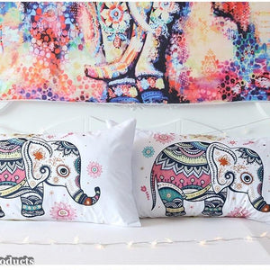 Rainbow Mandala Elephant Bed Set