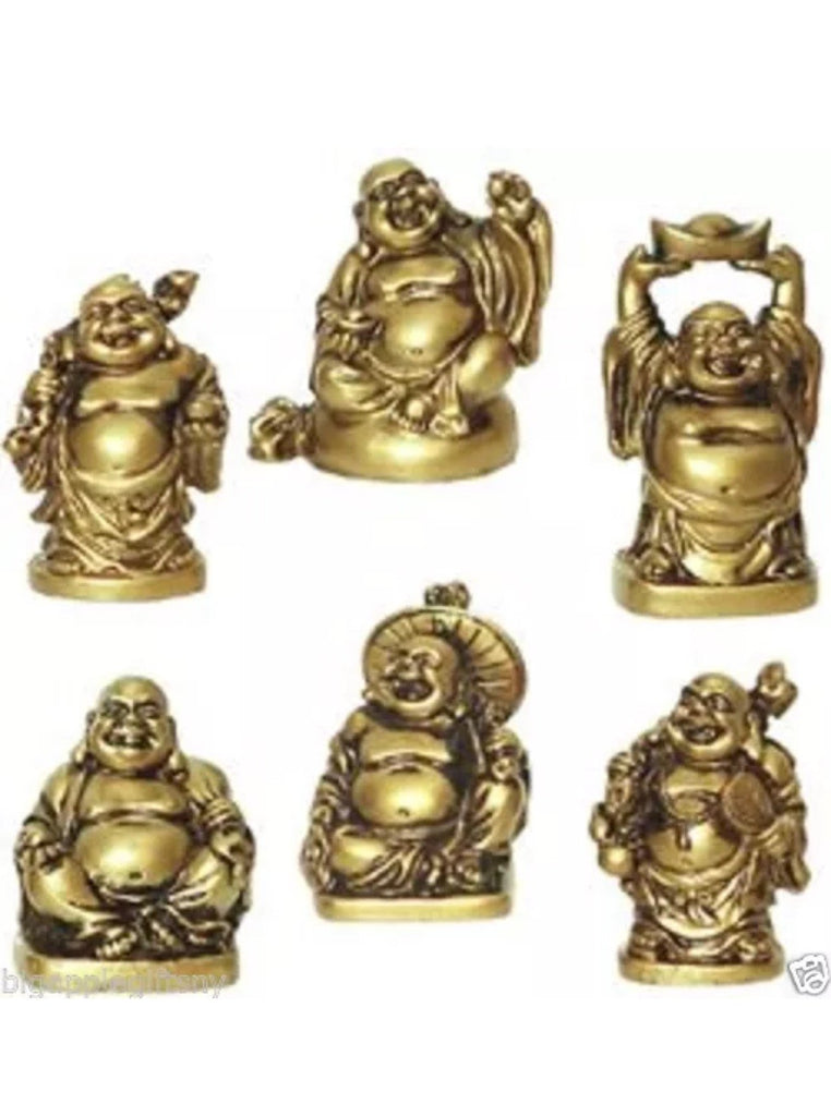 Set Of 6 Feng Shui Laughing HAPPY Buddha Figures & Statue Luck & Wealth