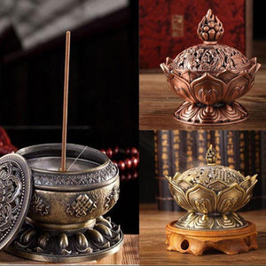 Tibetan Lotus Designed Alloy Metal Craft Incense Burner