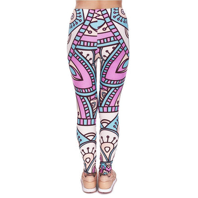 Turquoise And Pink  Mandala  Leggings