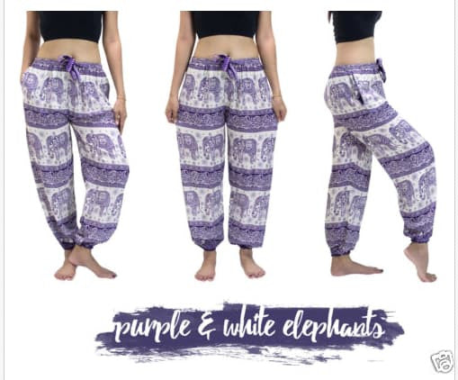 Yoga Pants - Purple Mandala Elephant Yoga Pants