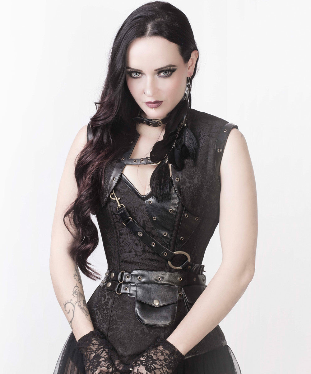 Renata Black Brocade Steampunk Custom Made Corset with Shrug