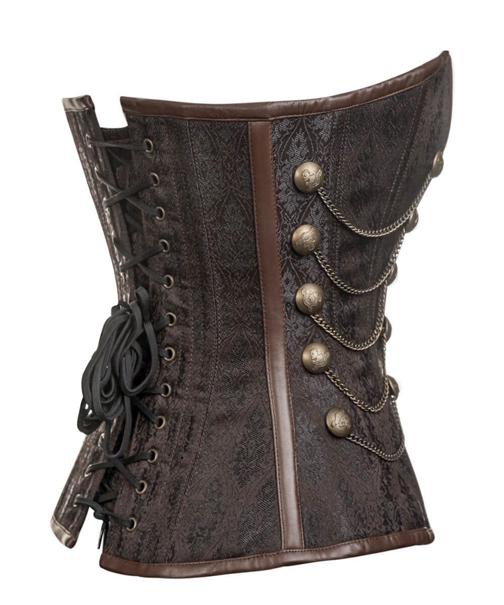 Alba Steampunk Overbust Brown Custom Made Corset with Chains
