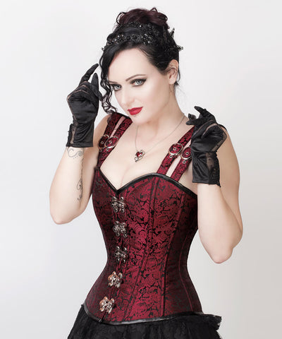 Ariana Gothic Steel Boned Custom Made Corset with Shoulder Straps