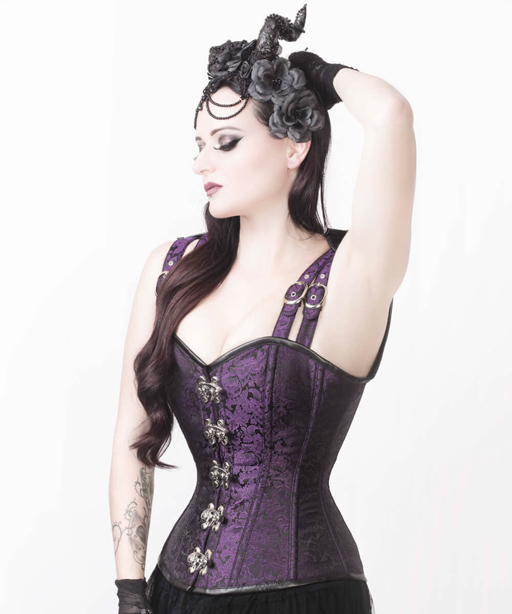 Eartha Brocade Gothic Overbust Custom Made Corset with Shoulder Staps