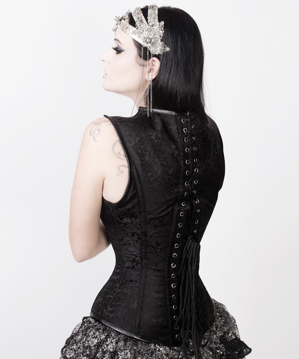 Adrienne Gothic Overbust Black Custom Made Corset with Shoulder Straps