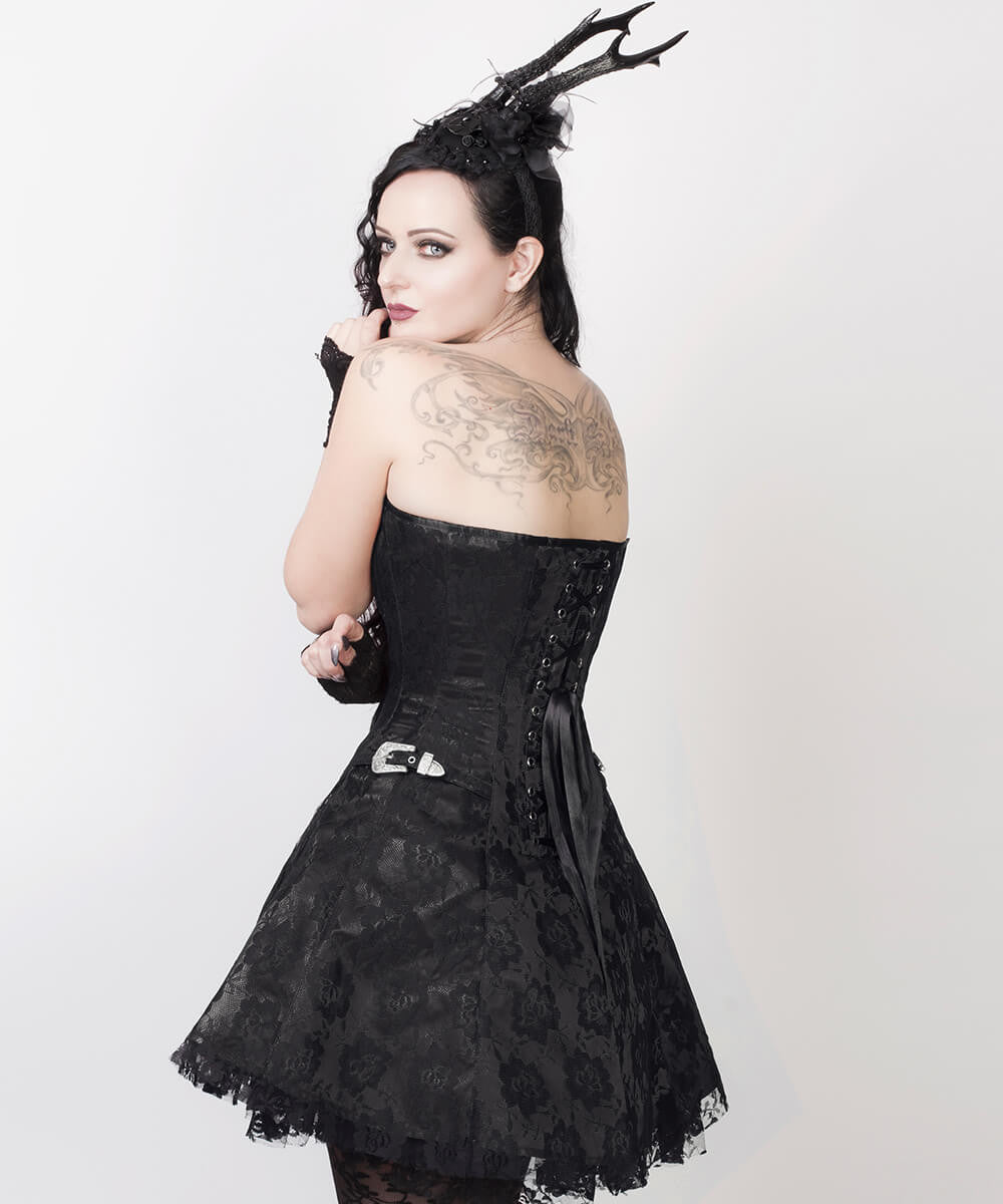 Electra Gothic Lace Overlay Custom Made Corset Dress