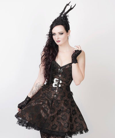 Karissa Gothic Lace Overlay Custom Made Corset Dress