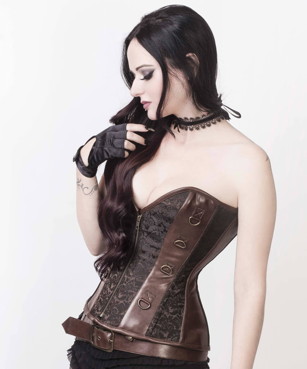 Iris Overbust Brown Steampunk Custom Made Corset with Detachable Belt