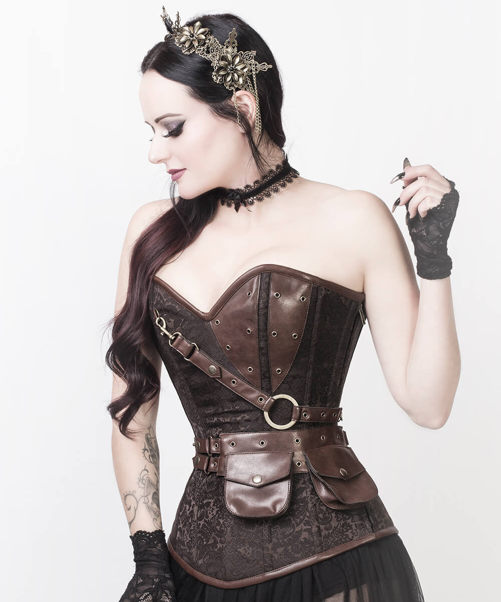 Alexa Brown Brocade Steampunk Overbust Custom Made Corset