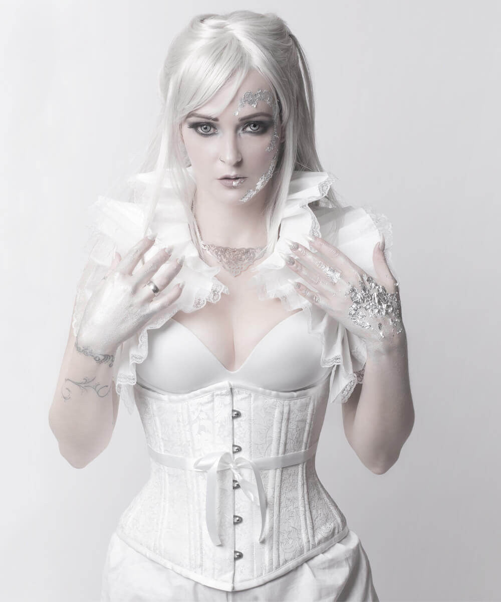 Rozlynn White Waist Training Custom Made Corset