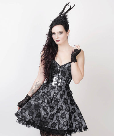 Fedot Gothic Lace Overlay Custom Made Corset Dress