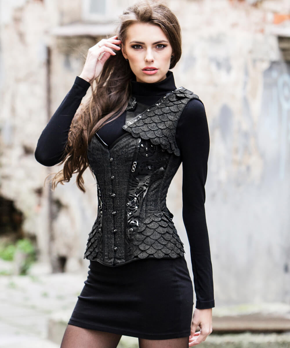 Lelia Glen Plaid Overbust Custom Made Corset with Shrug