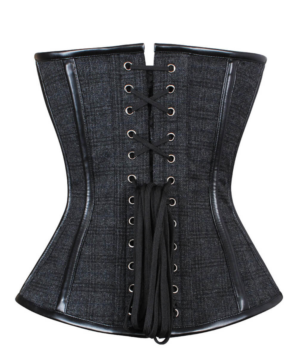 Rille Steampunk Overbust Custom Made Corset with Buckle at Front