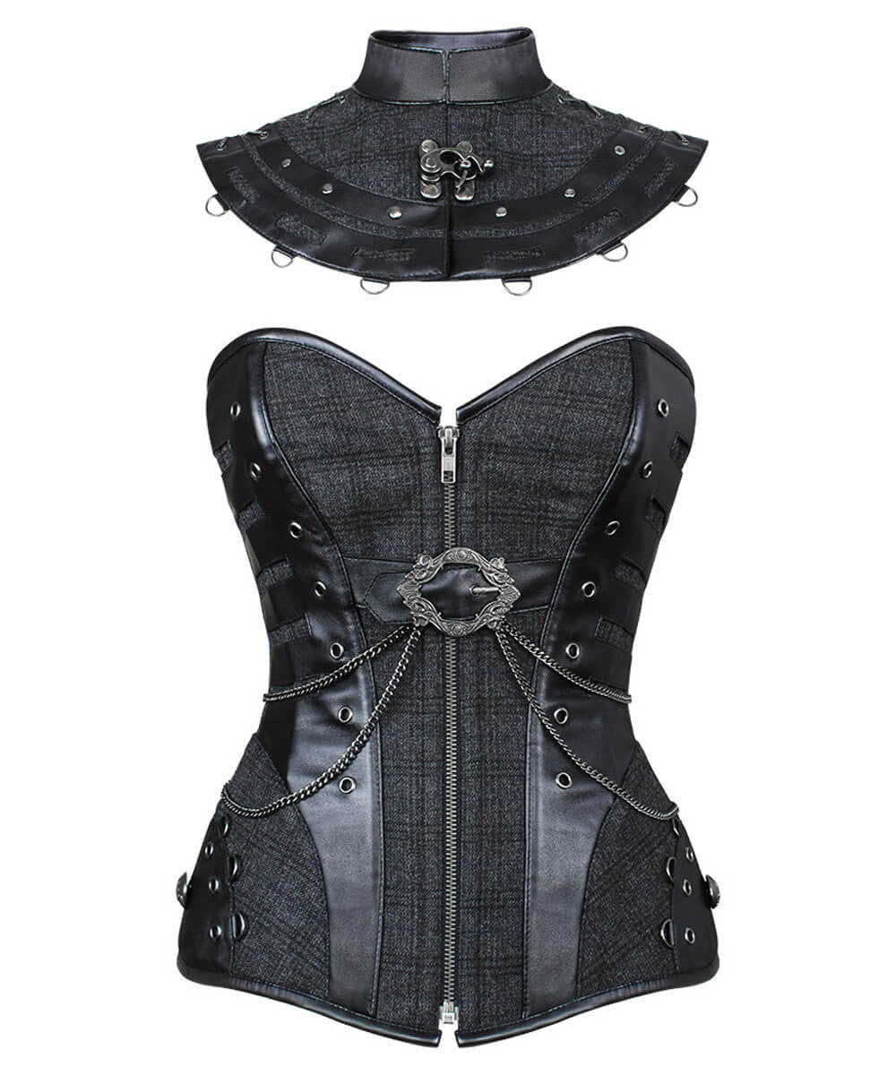 Lenora Steampunk Overbust Glen Plaid Custom Made Corset with Metallic Embellishment