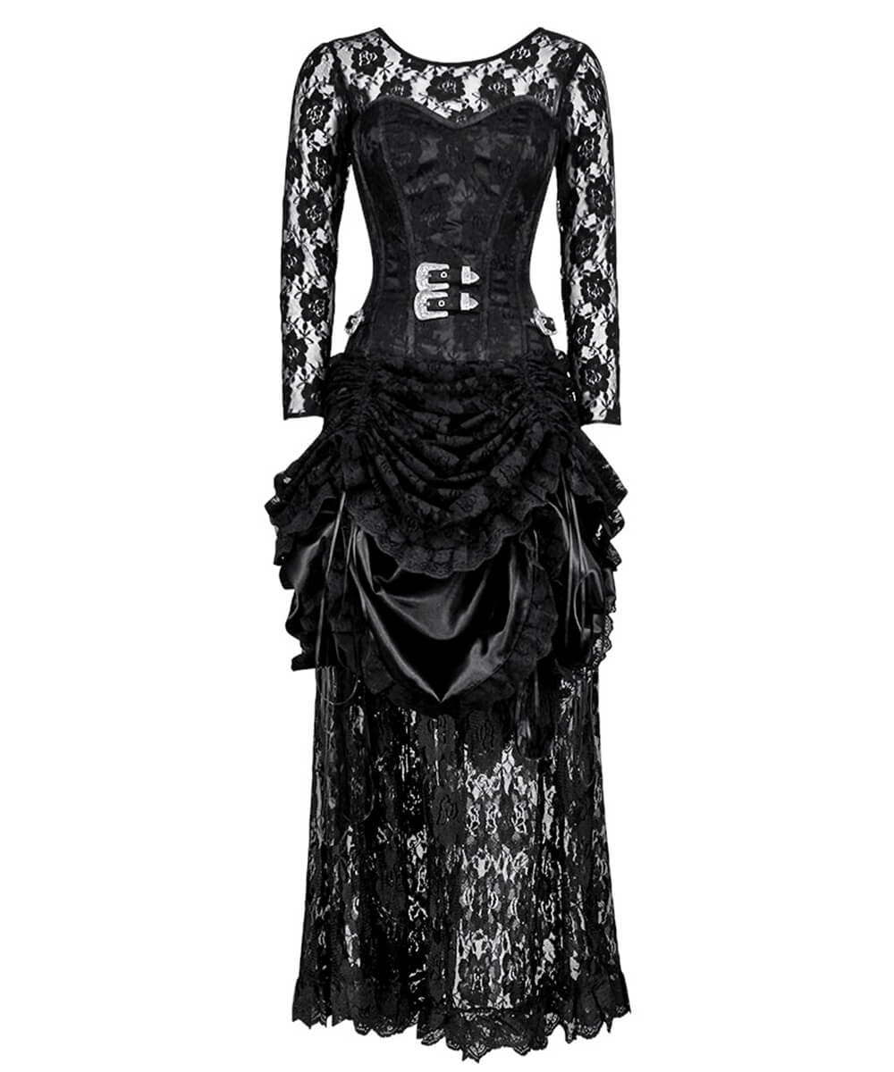 Lavina Gothic Custom Made Corset Dress with Front Buckle