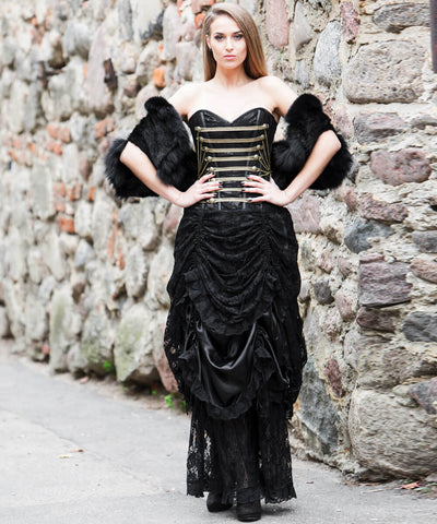 Ahmet Steampunk Drawstring Custom Made Corset Dress with Skirt