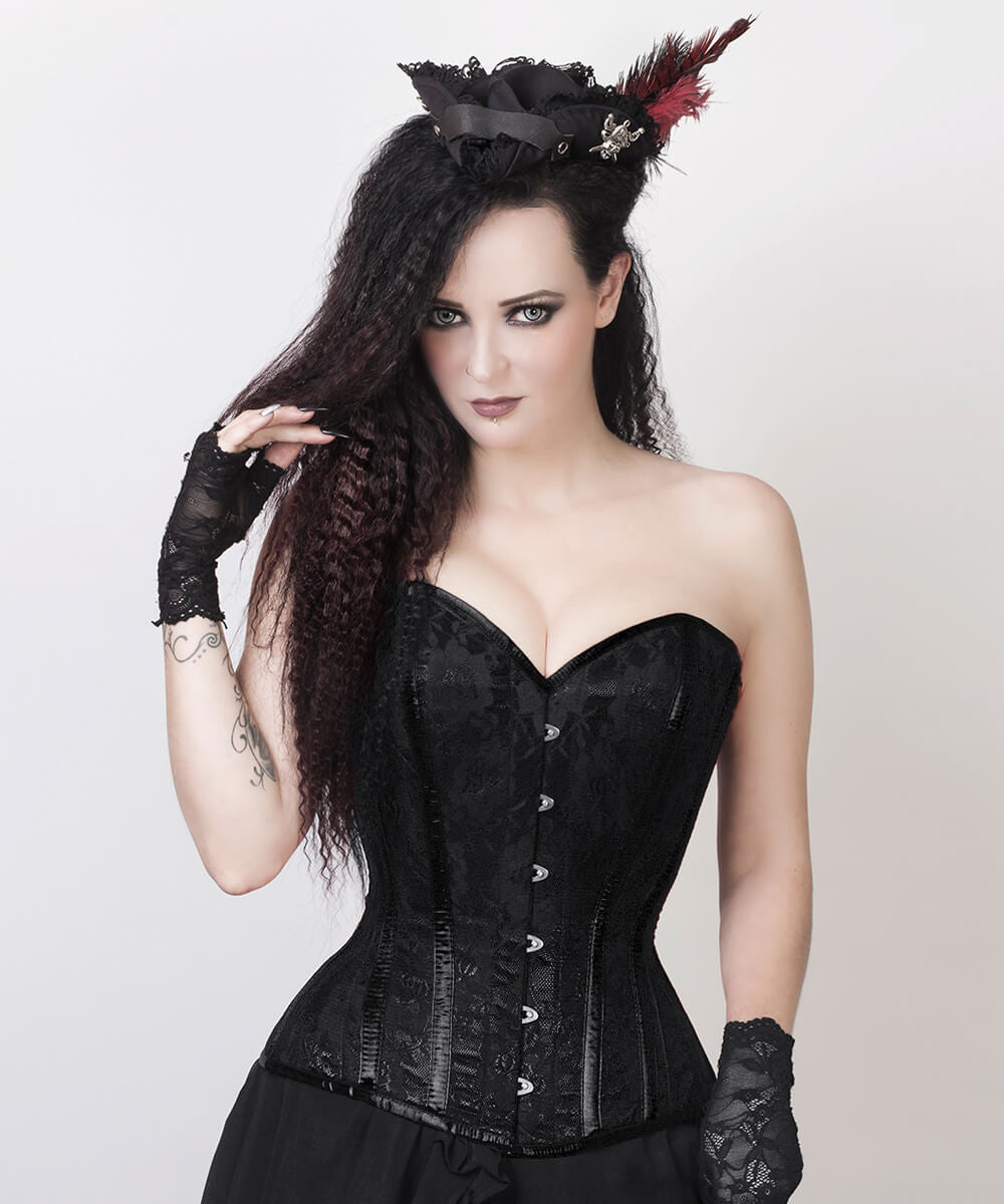 Layton Black Overbust Custom Made Corset with Bolero Jacket