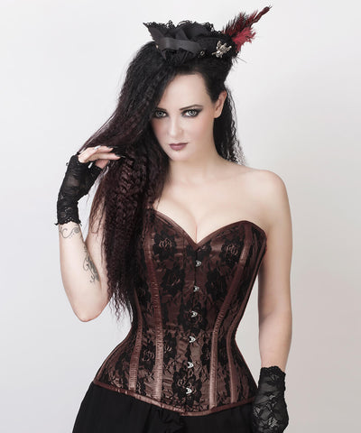 Celeste Brown Overbust Custom Made Corset with Bolero Jacket