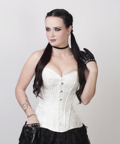 Aike Gothic White Brocade Custom Made Corset with Bolero