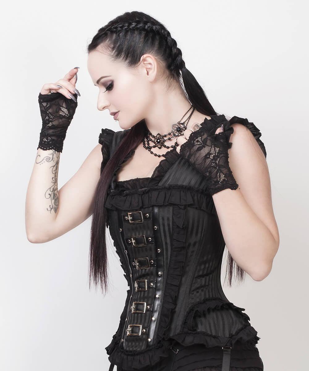 Cadfael Black Brocade Victorian Inspired Custom Made Corset