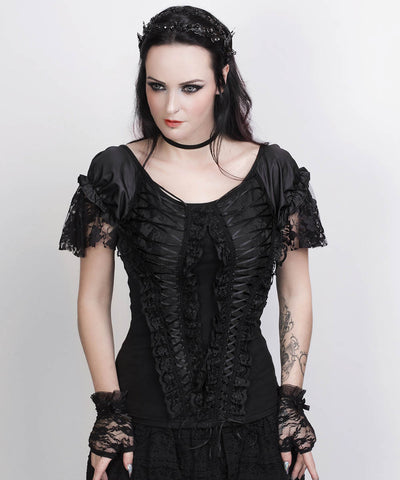 Calogera Black Gothic Custom Made  Broad Neck Lace Overlay Top