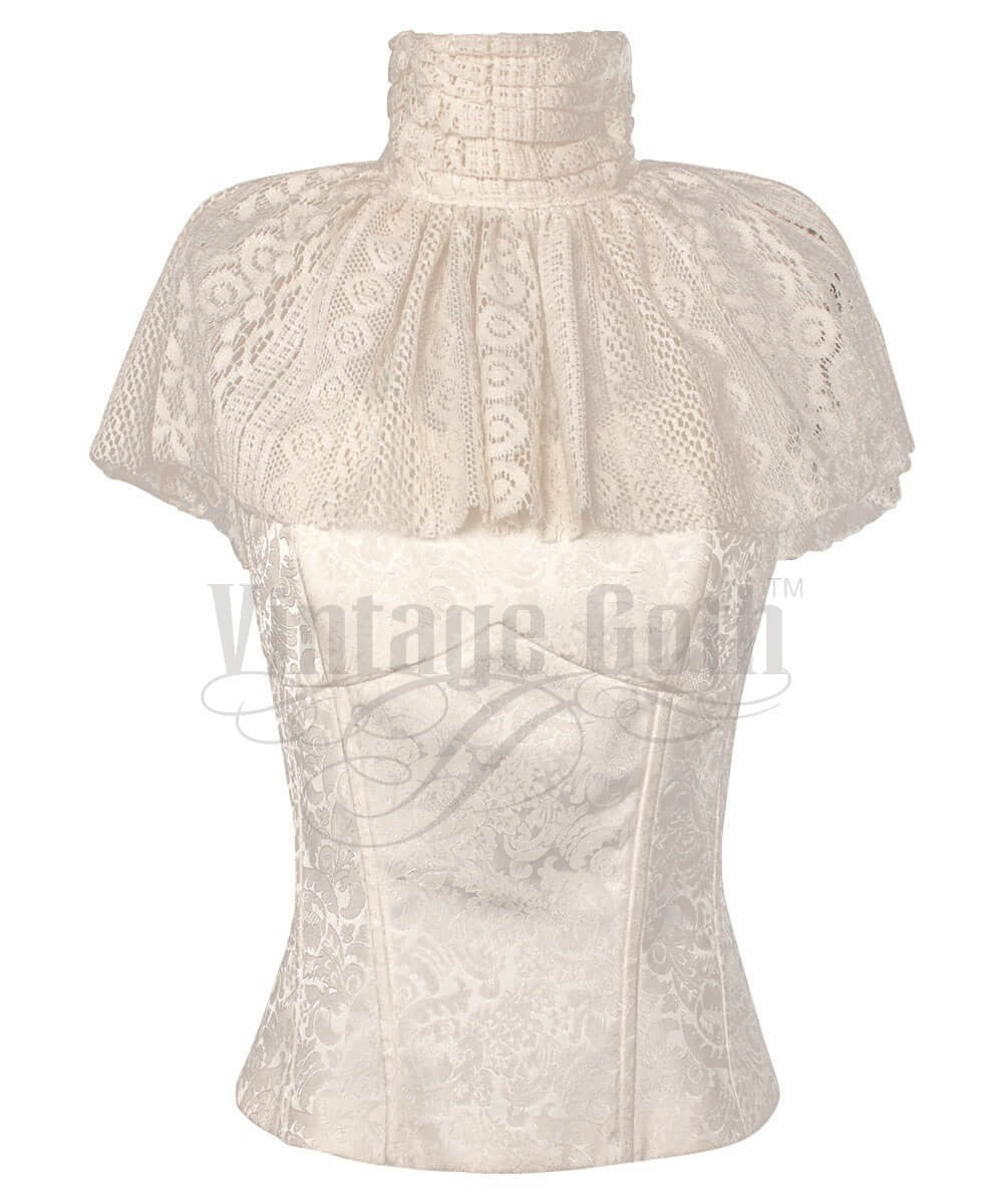 Raakel Victorian Custom Made High Neck Collar Top with Lace