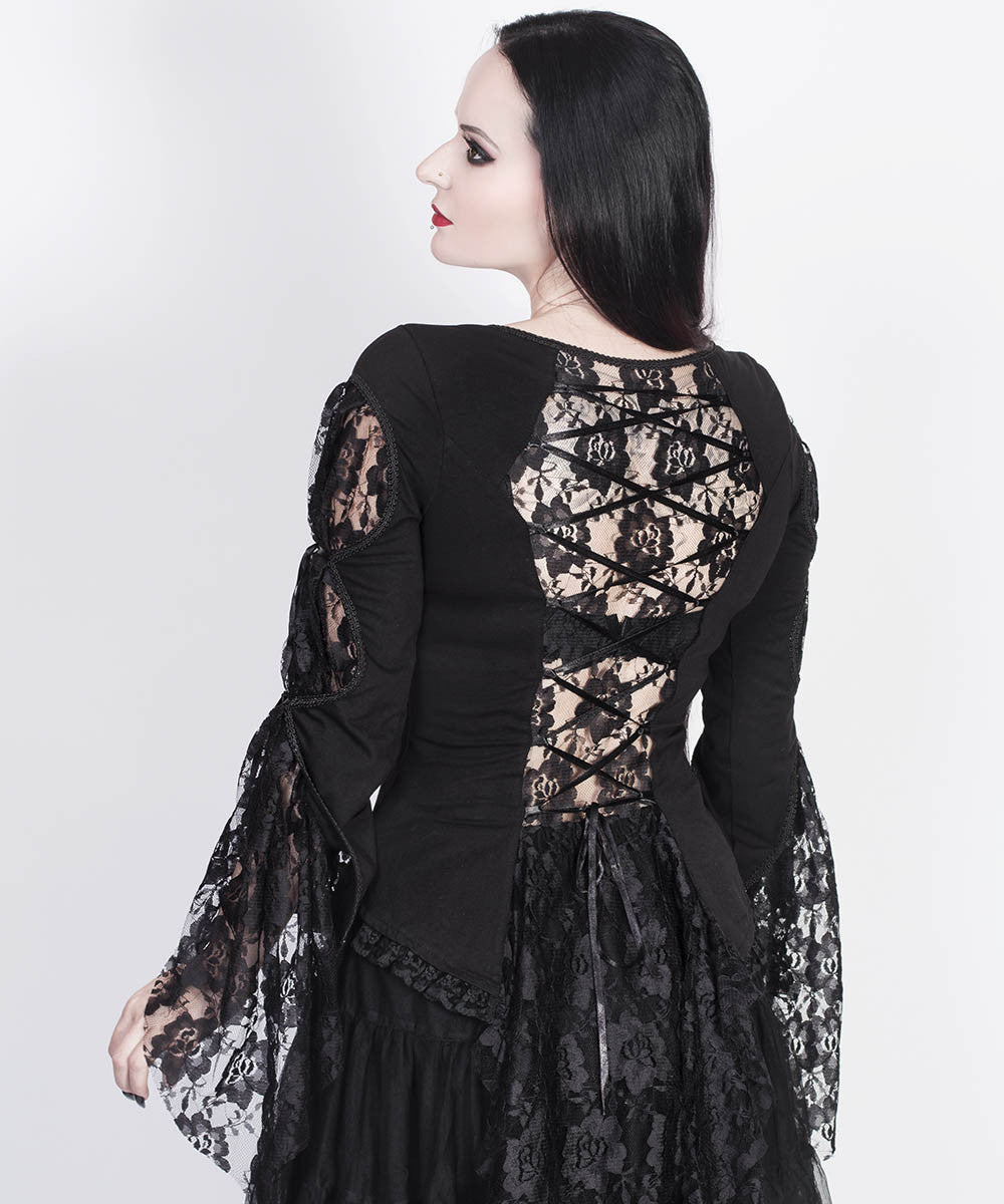 Larkin Black Gothic Custom Made Top with Long Sleeve