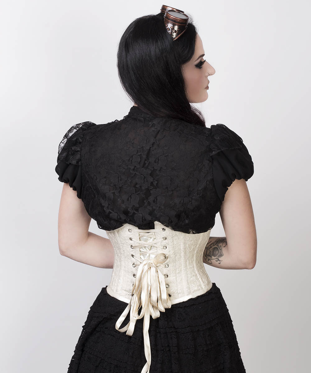 Afon Underbust Ivory Corset with Lace Overlay