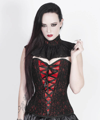 Agaue Red Overlay Corset with Victorian Lace Choker