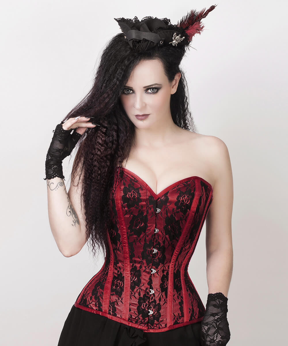 Layne Burgundy Overbust Corset with Bolero Jacket