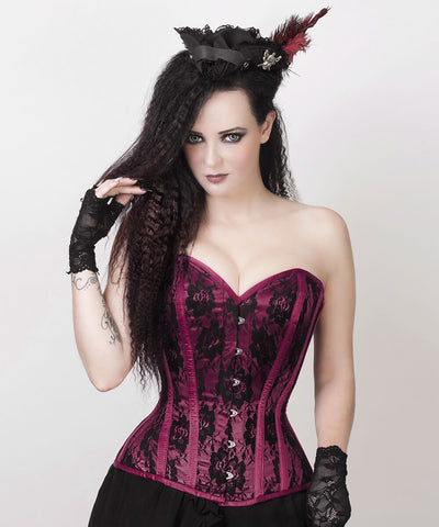 Rodica Magenta Overbust Custom Made Corset with Bolero Jacket