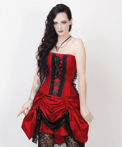 Akuchi Victorian Inspired Red Custom Made Corset Dress with Bolero