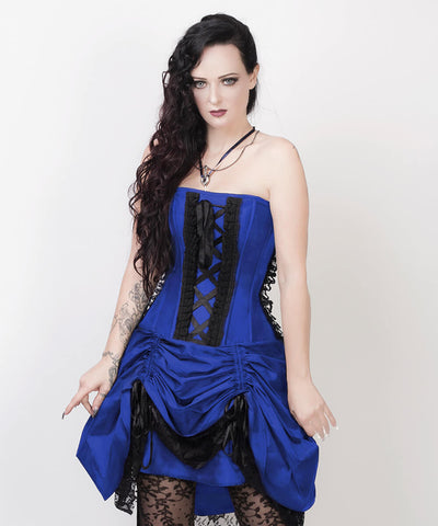 Lesleigh Victorian Inspired Blue Custom Made Corset Dress with Bolero