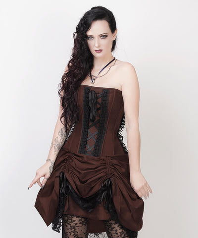 Roswell Victorian Inspired Brown Custom Made Corset Dress with Bolero