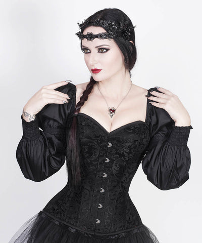 Cirino Gothic Black Custom Made Corset with Attached Sleeve