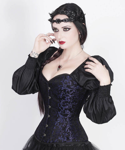 Rosaline Gothic Purple Corset with Attached Sleeve