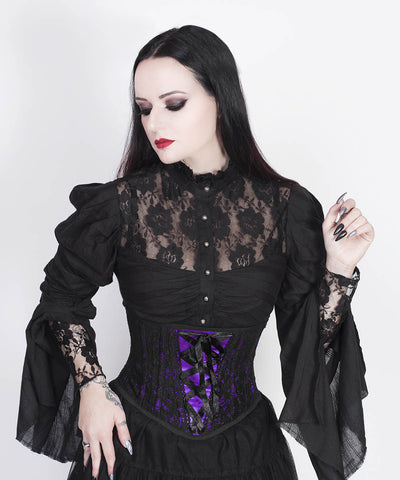 Lazaros Underbust Purple Corset with Lace Overlay
