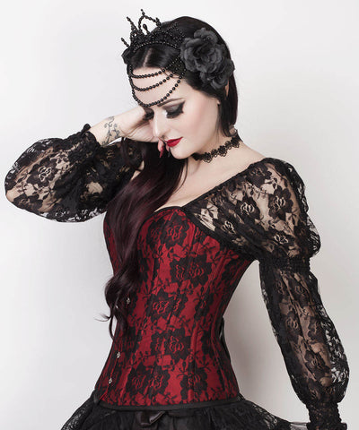 Lempi Lace Overlay Maroon Overbust Corset with Attached Sleeve