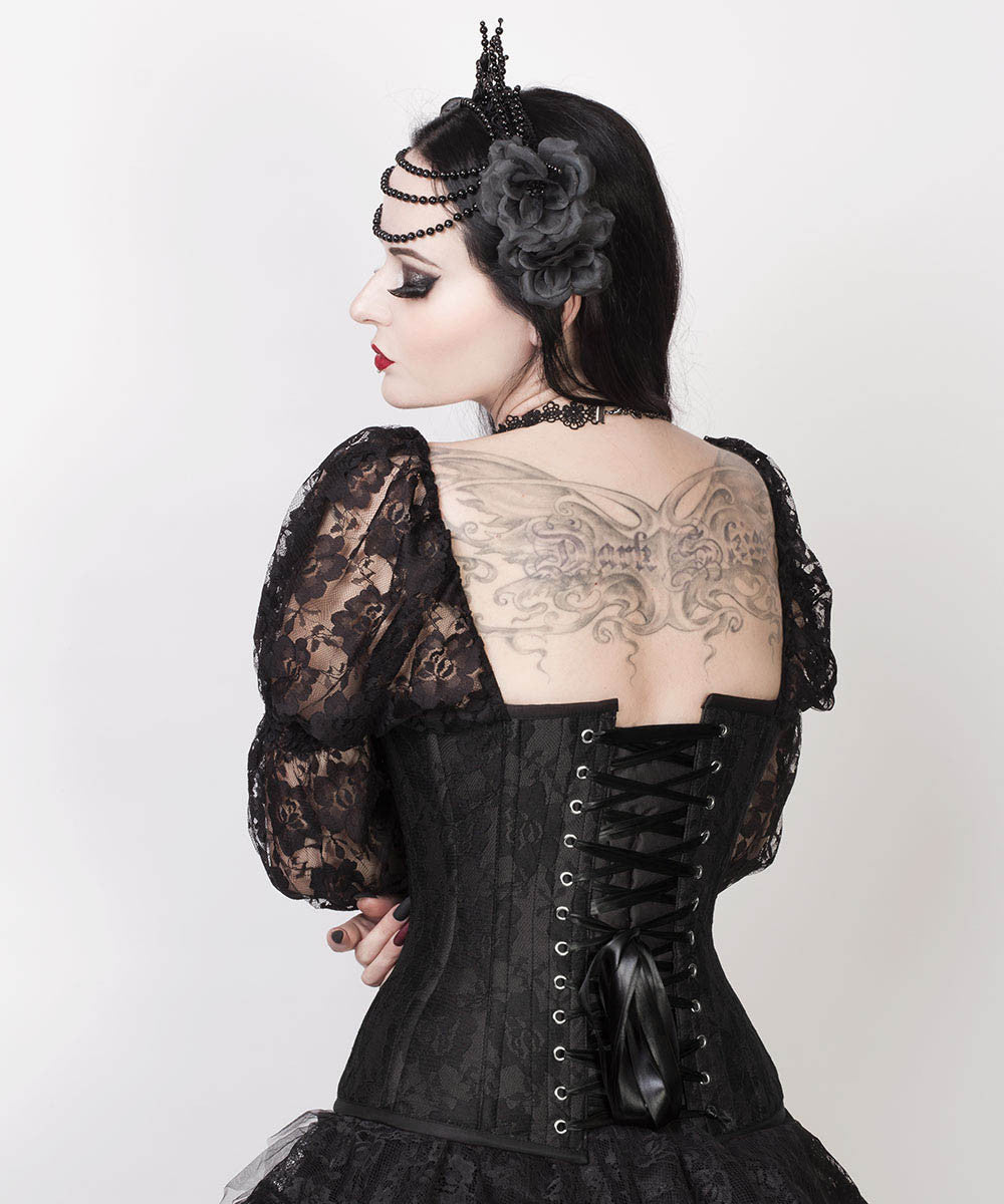Faddei Lace Overlay Black Overbust Corset with Attached Sleeve