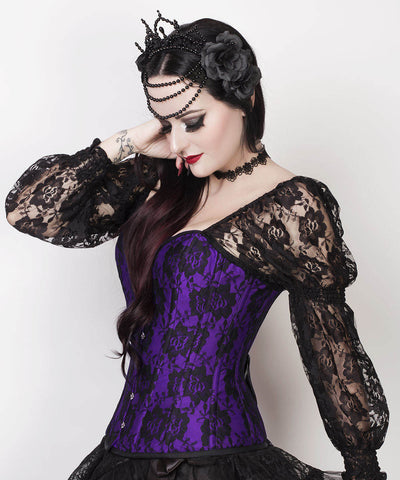 Rolph Lace Overlay Purple Overbust Corset with Attached Sleeve