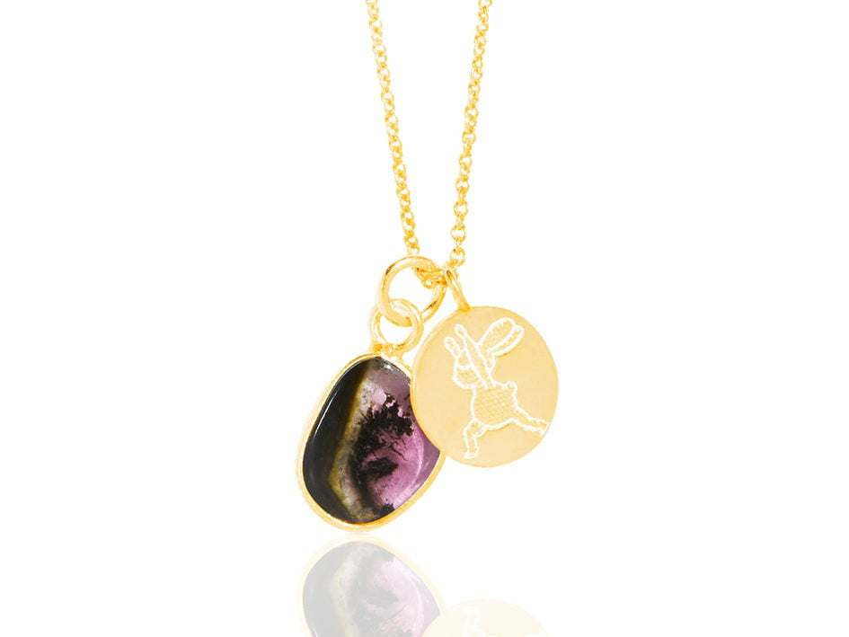 Yoga Bunny's disc necklace - warrior I