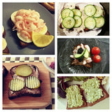 a collage of photos with different types of food