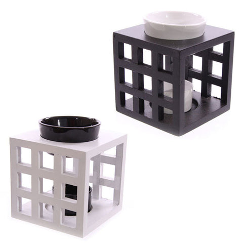 wooden cutout lattice wax oil burner warmer