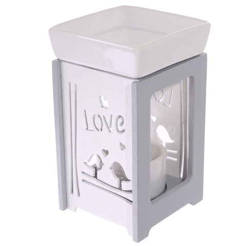wooden love wax burner oil warmer lovebirds
