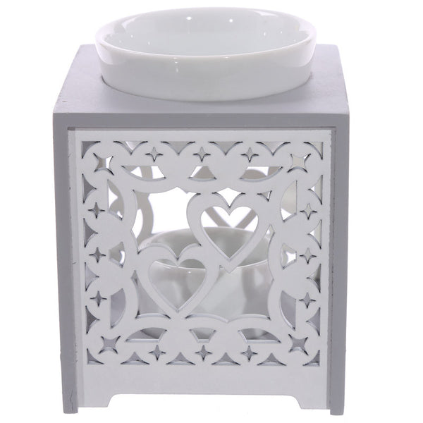 wooden cutout wax oil burner warmer